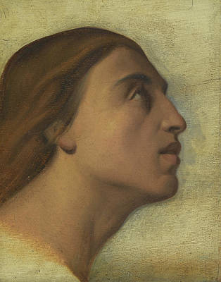 Flandrin Painting - A Study Of The Head Of Saint John The Evangelist In Profile by Hippolyte-Jean Flandrin