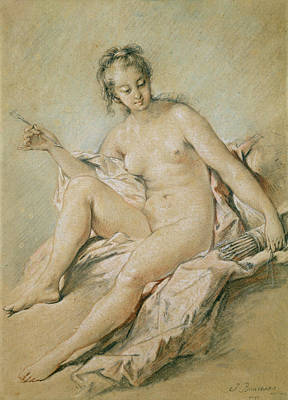Boucher Pastel - A Study Of Venus by Francois Boucher