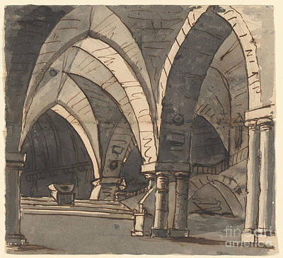 Subterranean Painting - A Subterranean Gothic Crypt by Celestial Images