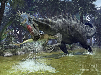 Prehistoric Era Digital Art - A Suchomimus Snags A Shark From A Lush by Walter Myers