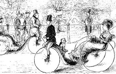 Velocipede Drawing - A Suggestion For The Park  Vintage Illustration From Punch Magazine 1878 by English School