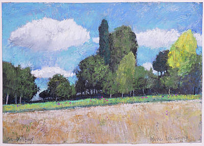 Painting - A Summer Day, Rural Landscape With Trees by Martin Stankewitz