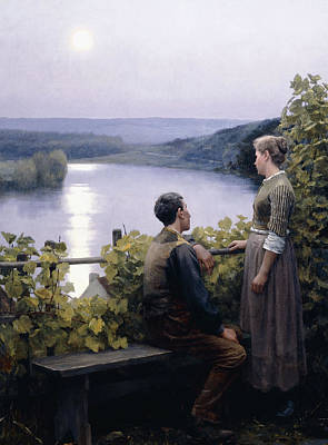 Man In The Moon Painting - A Summer Evening by Daniel Ridgway Knight