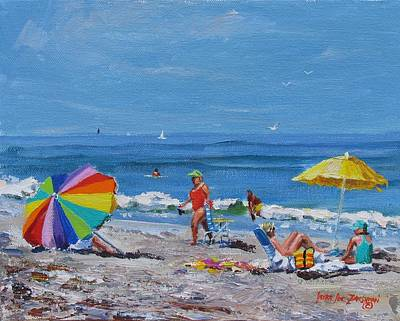 People On Beach Wall Art - Painting - A Summer by Laura Lee Zanghetti