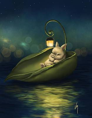 Night Lamp Painting - A Summer Night's Dream by Veronica Minozzi