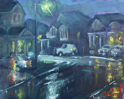Georgetown Wall Art - Painting - A Summer Rainy Night by Ylli Haruni