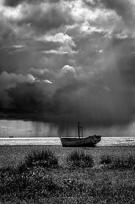 Summer Squall Photograph - A Summer Squall. A Fine Art Photographic Print Of A Passing Rainstorm Off Of The Coast At Aldeburgh by Lee Thornberry