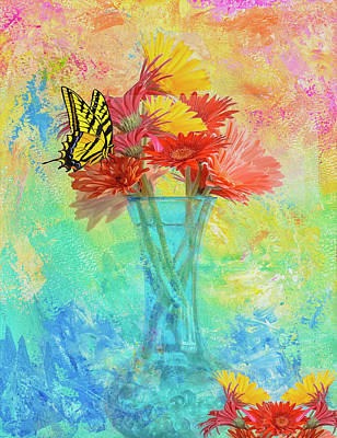 Gerbera Daisy Digital Art - A Summer Time Bouquet by Diane Schuster