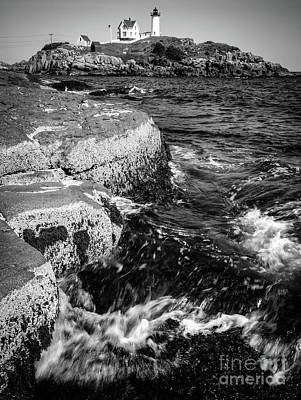 Photograph - A Summer's Day At Nubble Light, York, Maine  -67969-bw by John Bald
