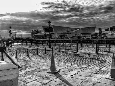 Photograph - A Summer's Evening At Albert Dock In Greyscale by Joan-Violet Stretch