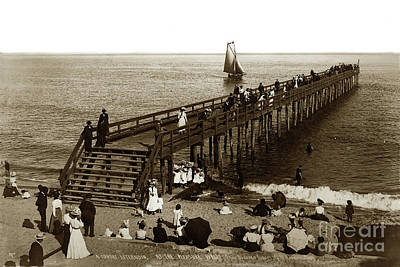 Photograph - A Sunday Afternoon At The Pleaser Wharf Santa Barbara, Cal Circa 1900 by California Views Archives Mr Pat Hathaway Archives