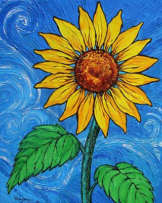 Painter Mixed Media - A Sunflower by Juan Alcantara
