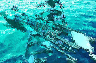 Mixed Media - A Sunken Aircraft Carrier? by Clive Littin