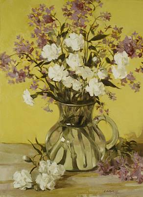Painting - A Sunny Bouquet In A Glass Pitcher by Robert Holden