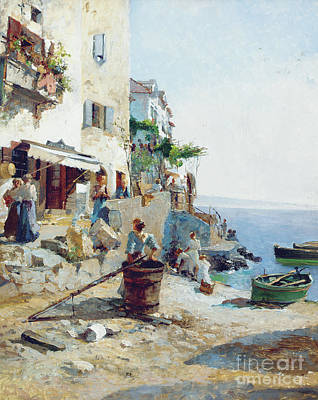Barrel Painting - A Sunny Day On The Amalfi Coast  by Leo von Littrow