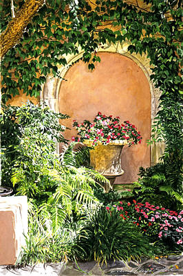 A Sunny Nook Hotel Bel - Air Art Print by David Lloyd Glover