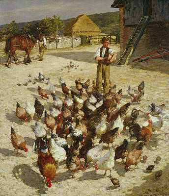Pecking Painting - A Sussex Farm by Henry Herbert La Thangue