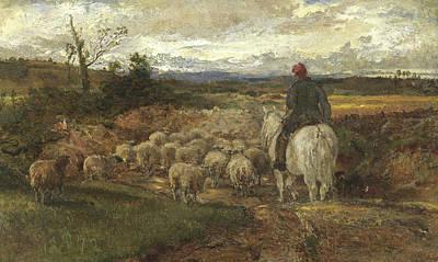 A Sussex Lane, 1872 Art Print by John Samuel Raven