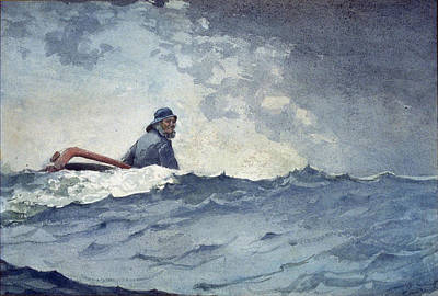 Winslow Homer Drawing - A Swell Of The Ocean by Winslow Homer