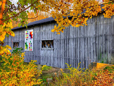 Photograph - A Tale Of Two Pallettes - South Denmark Road Covered Bridge And Barn Quilt - Ashtabula County, Ohio by Michael Mazaika