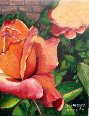 Painting - A Tale Of Two Roses by Laurie Morgan