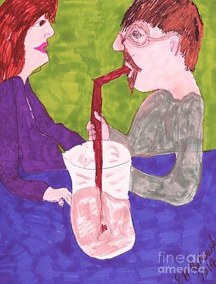 Conversation Mixed Media - A Tall Drink by Elinor Rakowski