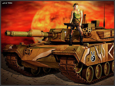 Photograph - A Tank Girl Sunset by Jon Volden