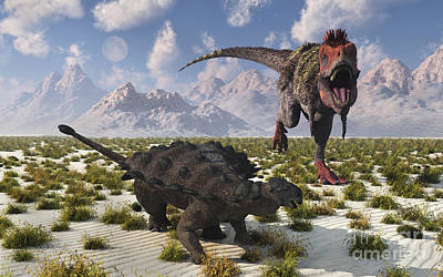 Tarbosaurus Digital Art - A Tarbosaurus Dinosaur Approaching by Mark Stevenson
