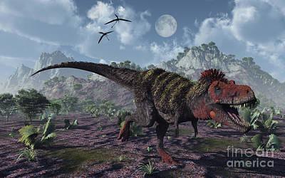 Tarbosaurus Digital Art - A Tarbosaurus Dinosaurs Hunting by Mark Stevenson