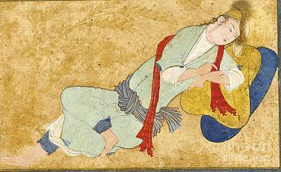Safavid Painting - A Tattooed Youth Reclining by Celestial Images