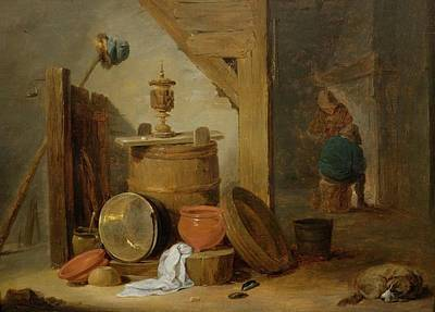 A Tavern Interior With A Dog And Kitchen Utensils In The Foreground Print by MotionAge Designs