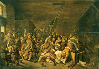 Jan Miense Molenaer Painting - A Tavern Interior With Figures Brawling by Jan Miense Molenaer