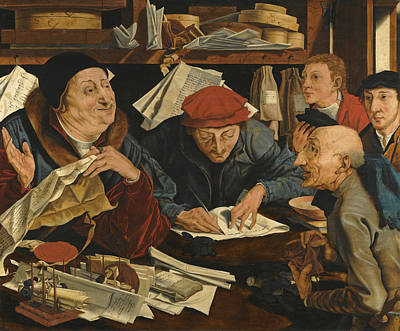 Painting - A Tax Gatherer With His Clerks by Follower of Marinus van Reymerswaele
