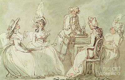Tea Party Drawing - A Tea Party by Thomas Rowlandson