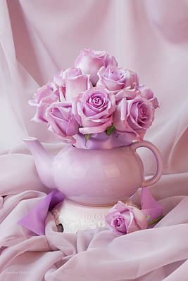 Victoria Magazine Style Photograph - A Tea Pot Of Lavender Pink Roses  by Sandra Foster