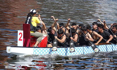 Photograph - A Team Of Students Trains For The Dragon Boat Races by Yali Shi