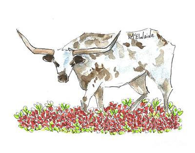 Painting - A Texas Cow In The Maroon Bluebonnets Lh068 by Kathleen McElwaine