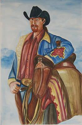 A Texas Horseman Art Print by George Chacon