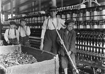 1900s Portraits Photograph - A Textile Mill. Sweeper And Doffer Boys by Everett