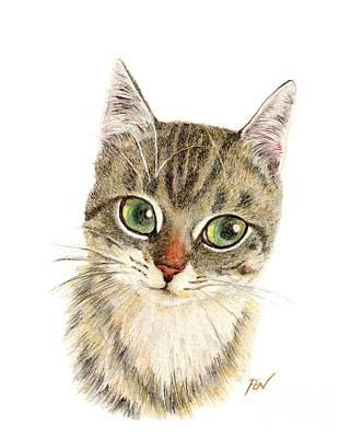 Painting - A Thinking Cat by Jingfen Hwu