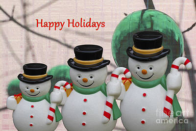 Photograph - A Three Snowman Holiday by Nina Silver