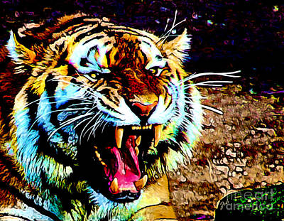 Digital Art - A Tiger's Roar by Zedi