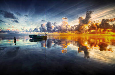 Sunrise Seascape Photograph - A Time For Reflection by Mark Yugawa