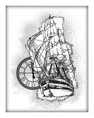 A Time To Sail Bw 2 Art Print