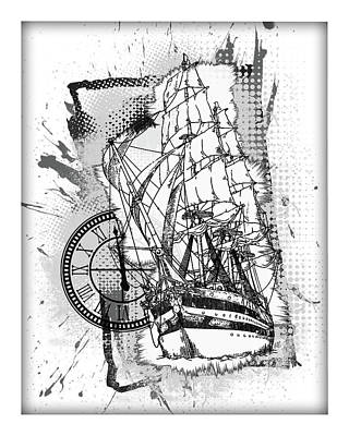Sailboat Ocean Mixed Media - A Time To Sail Bw by Melissa Smith