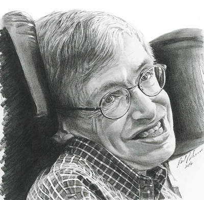 Quantum Drawing - A Timeless Smile  Stephen Hawking by Reed Palmer