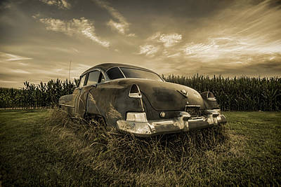 Cornfield Photograph - A Tinted Photo Of Rusty Caddy By A Cornfield  by Sven Brogren