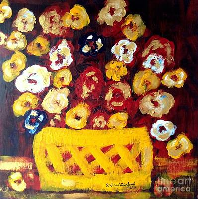 Painting - A Tisket A Tasket Ella Fitzgerald's Flowers In Her Bright Yellow Basket by Richard W Linford