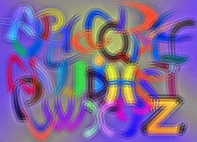 Alphabet Learning Digital Art - A To Z - Alphabet Abstract by Steve Ohlsen