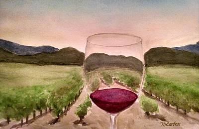 California Vineyard Painting - A Toast Among The Vineyard by M Carlen
